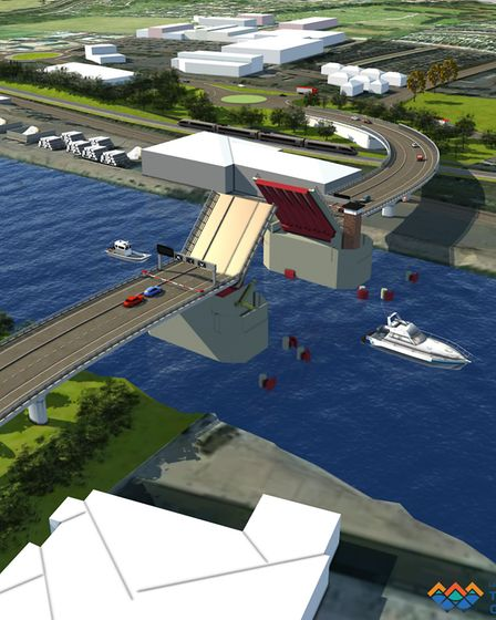 An artist impression of the Lake Lothing Third Crossing Project in Lowestoft. Photo: Kier and Mouche