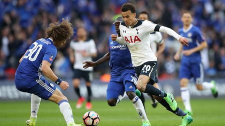 Tottenham Hotspur's Dele Alli attacks against Chelsea during their FA Cup semi-final tie at Wembley