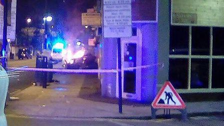 Blackstock Road was taped off last night. Picture: Marco Pacini