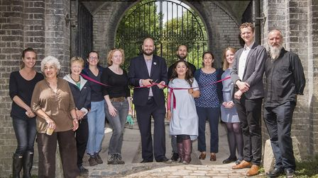 Mayor Phil Glanville, Cllr Feryal Demirci and Rebecca Barrett from Historic England with Abney Park