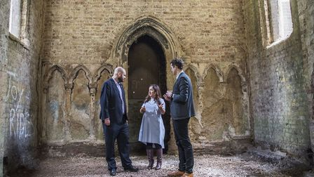 Mayor Phil Glanville, Cllr Feryal Demirci and Abney Park mangager Tom Simpson in the chapel. Picture