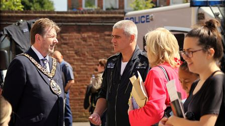 The mayor meets a Met helicopter crew member. Picture: Nadia Stomina