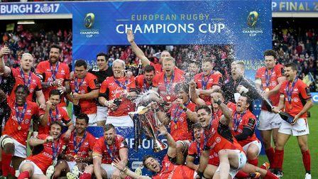 Saracens celebrate winning the European Champions Cup against Clermont Auvergne in Edinburgh in May