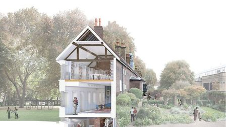 A cross-section of plans for the Geffrye Museum's �18m 'Unlocking the Geffrye' makeover. Picture: Ge