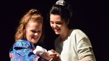 Jo (Alana Ramsey) and Judy (Alice Imelda) in Too Much Punch for Judy
