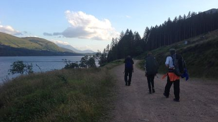 The students hiking from Inverness to the peak of Ben Nevis. Picture: Marley Silcott