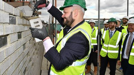 Mayor of Hackney Phil Glanville attended a topping out ceremony in King Edwards Road. Picture: Paul