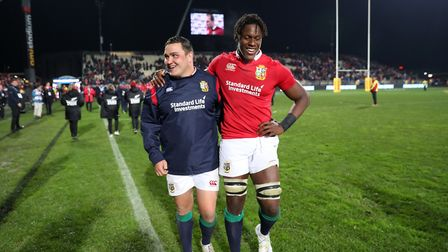 Saracens' Jamie George and Maro Itoje celebrate victory for the British & Irish Lions against Crusad
