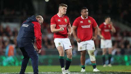 British & Irish Lions' Owen Farrell celebrates kicking a late penalty to draw the third Test with Ne
