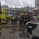 Firefighters, paramedics and volunteer ambulance service Hatzola at the scene of the 'acid spill' at