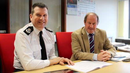 Gareth Wilson with Suffolk Police and Crime Commissioner Tim Passmore. Picture: Courtesy of Suffolk