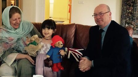 Foreign Office minister Alistair Burt meets Nazanin's daughter Gabriella and family. Picture: Richar