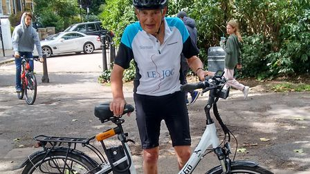 Hampstead great-grandfather, Norman Franklin, aged 89, will start cycling his electric bicycle from