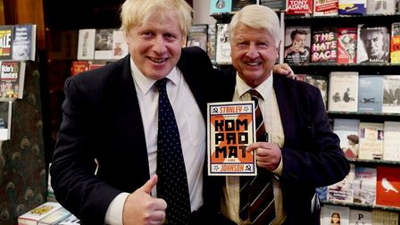 Stanley Johnson with son Boris Johnson at the book launch in Daunts, Marylebone: Picture: Mark Rushe