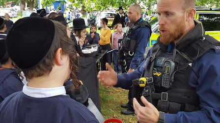 Youngsters meet police at the annual Shomrim open day on Clapton Common. Picture: @Shomrim