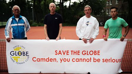 Members of Globe Lawn Tennis Club on Haverstock Hill demonstrate their continued resistance to the C