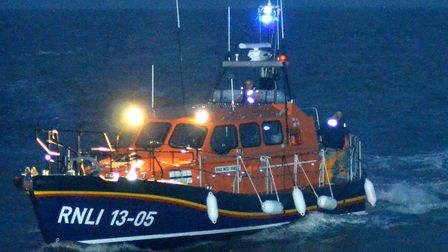 The crew of Lowestoft lifeboat returning from a previous call out. Picture: Mick Howes