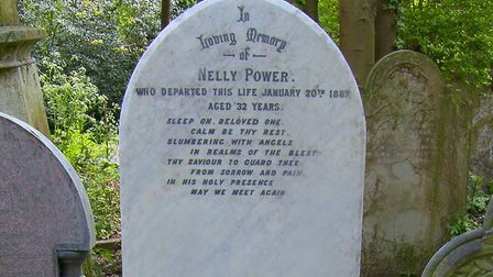 The grave of Nelly Power in Abney Park Cemetery, Stoke Newington, which was restored by the Music Ha