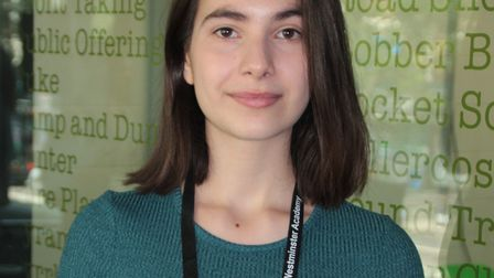 Westminster Academy student Nevena Slavova with her results.