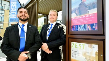 Emilio Garcia (left) and Marius Asteika are both security guards at JW3. Emilio has worked there for