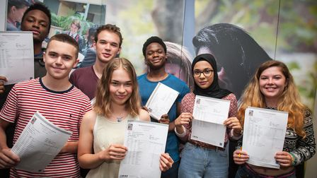 Students at Mossbourne Community Academy with their A-level results last year. Credit: Lee Thomas