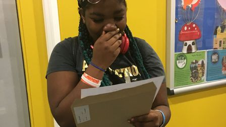 Our Lady's Convent High School student Jennifer Kwafo receiving her GCSE results.