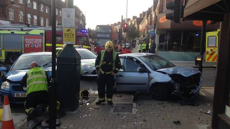 Firefighters from West Hampstead and Euston were called to a collision at 6.47 this morning. Picture