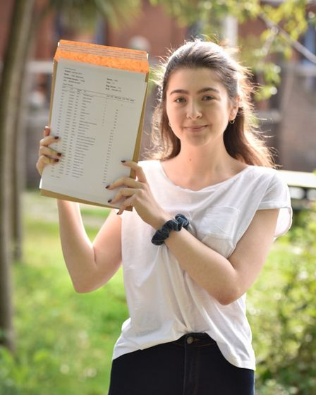 Parliament Hill School student Ellie Spenceley with her GCSE results. Photo by Justin Thomas