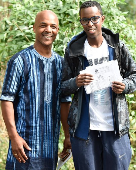 William Ellis School head of year Horace Parry with GCSE student Hamsa Ali. Photo by Justin Thomas