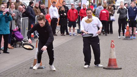 Action from last year's Lowestoft pancake race. Picture: Nick Butcher.