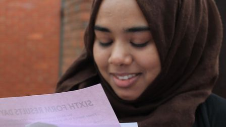 A pupil from Clapton Girls' Academy finds out her results