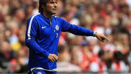 Chelsea manager Antonio Conte on the touchline at Wembley (pic: Nigel French/PA)