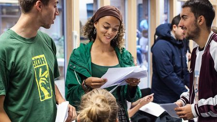 Students at Stoke Newington School collecting their A-level results. Credit: Stoke Newington School