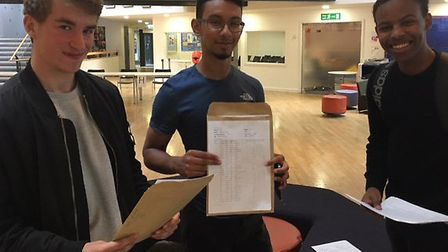 Students receiving their results at the Bridge Academy in Hackney