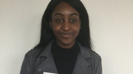 Motunrayo Arojojoye collecting her results at Hackney's Cardinal Pole Catholic School.
