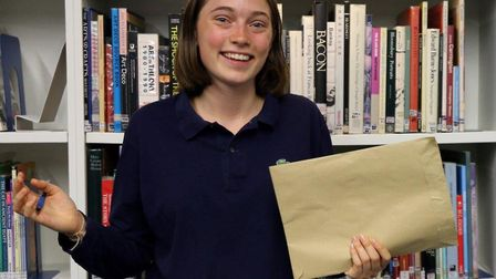 South Hampstead High School student Alexandra Willis with her A-level results.