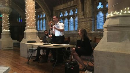 Inspector Richard Berns introduces himself at the meeting, held at St Stephens Picture: Nathan Louis