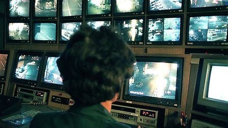 The CCTV control room in Lowestoft in 2000. Picture: Archant Library