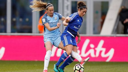 Birmingham City's Coral-Jade Haines (right) and Manchester City's Kosovare Asllani battle for the ba