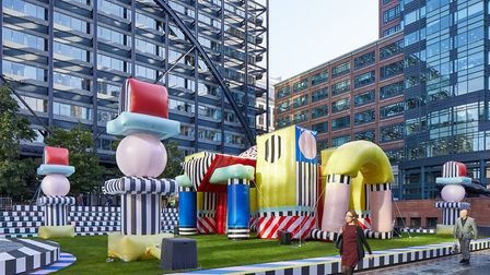 Camille Walala's Villa Walala bouncy castle in Broadgate. Picture: Andy Stagg
