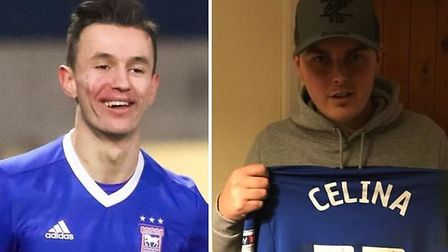 Bersant Celina gave a signed shirt to Ipswich fan Jordan Hockold. Picture: Archant/JordanHockold