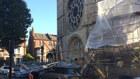 High winds blow scaffolding down at All Hallows Church in Gospel Oak (Picture: @TeamGOuk)