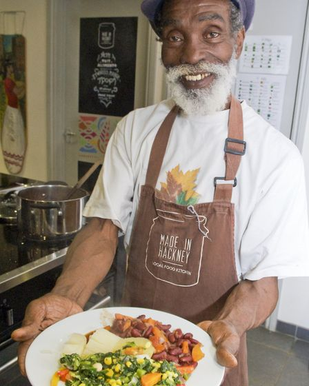 Spirit with a dish of his Ital food at the Made in Hackney HQ. Picture: Tanya Harris