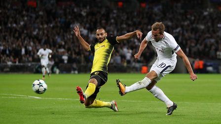 Tottenham Hotspur's Harry Kane scores his side's second goal of the game during the UEFA Champions L