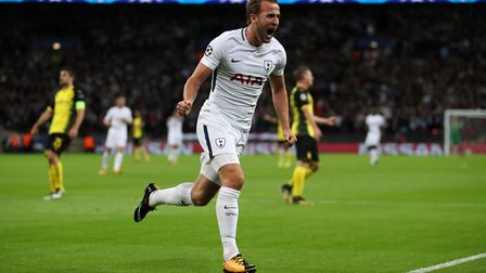 Tottenham Hotspur's Harry Kane celebrates scoring his side's second goal of the game during the UEFA