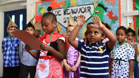 Pupils from De Beauvoir Primary School pictured in 2014 on World Book Day. The school is one of two