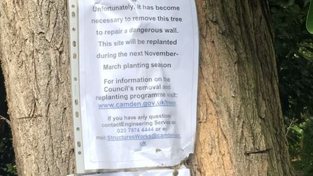 Camden council put up these notices on September 6 Picture: Nathan Louis