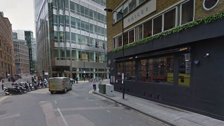 The spot where Marvin Couson was shot in Curtain Road in 2002 [Google image]