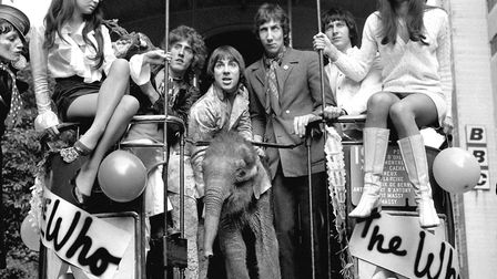 The Who in 1968, pictured on the Magic Bus from the BBC's Lime Grove studios with Eli the baby eleph