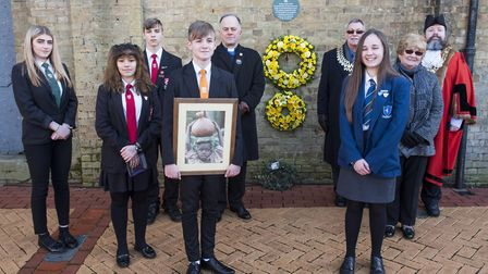 Wreath-laying ceremony to commemorate Holocaust Memorial Day in Lowestoft. Students from Denes High